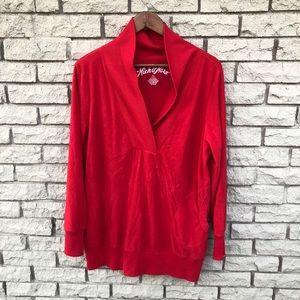 Nick&Nora Red Fleece Shawl Sleepwear Pullover XXL
